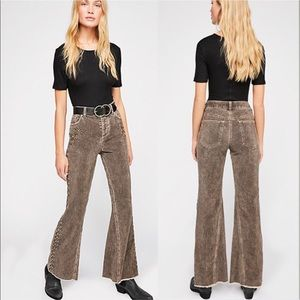 🗝 Free People Rugged Embellished Flare Pants 🗝